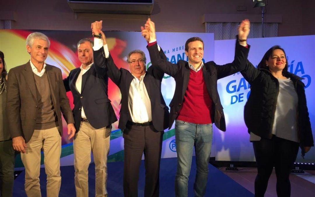 """Mitin de Casado, Zoido y Virginia Pérez en Tomares en demanda de un cambio para """"una Andalucía de primera"""""""