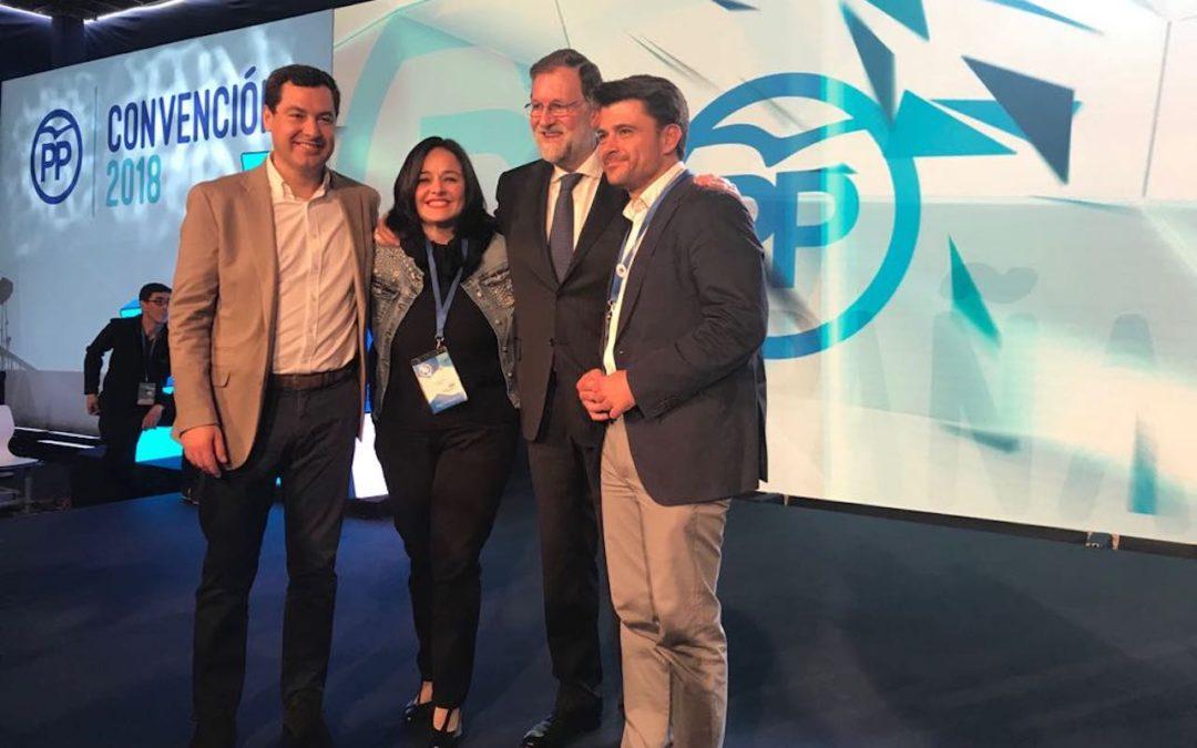 Beltrán Pérez, Mariano Rajoy y Juanma Moreno clausuran la Convención Nacional del PP de Sevilla